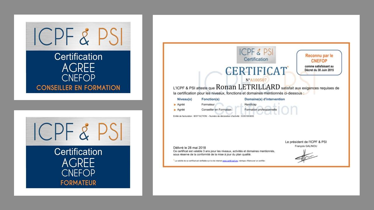 Boît'Action Obtient La Certification Formateur Et Conseiller En Formation ICPF & PSI